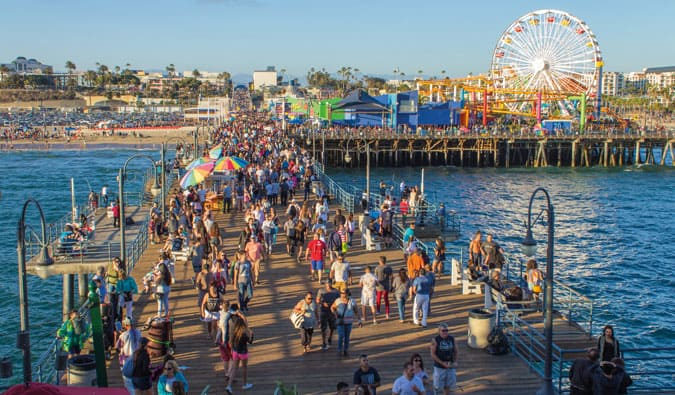the busy Pier in Los Angeles