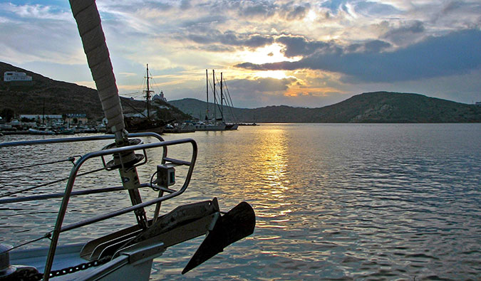 Sailing in the picturesque waters off Ios, Greece