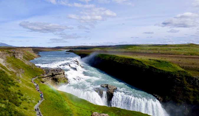 the massive Gullfoss waterfall in the Golden Circle, Iceland