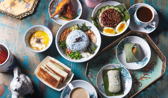 table spread at Kopitiam, NYC