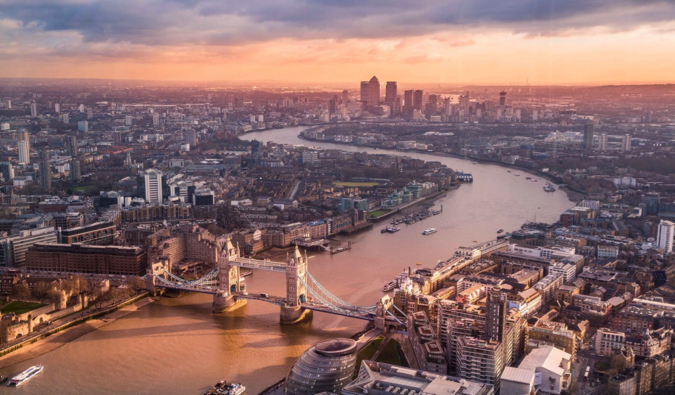 Overlooking the city of London, England during sunset