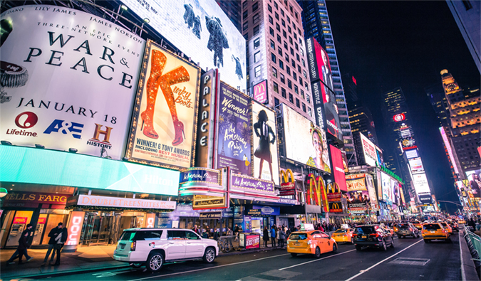 The bright lights of Times Square, NYC all lit up at night
