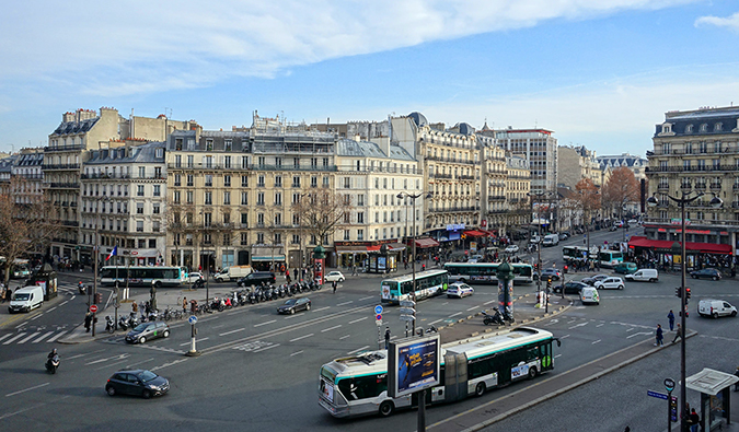 The busy streets full of traffic in Montparnasse, Paris