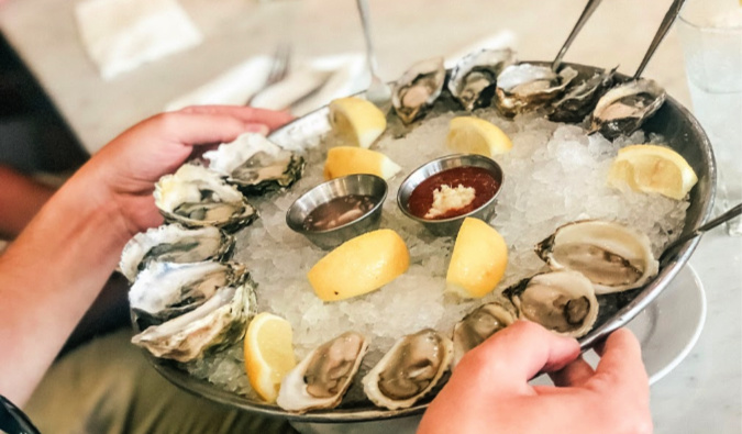 oysters being served to a table