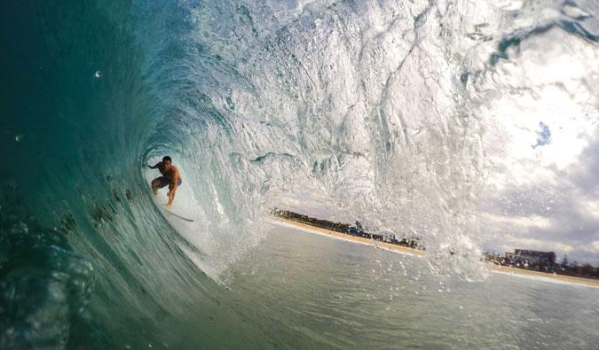 A surfer in the barrel in Australia