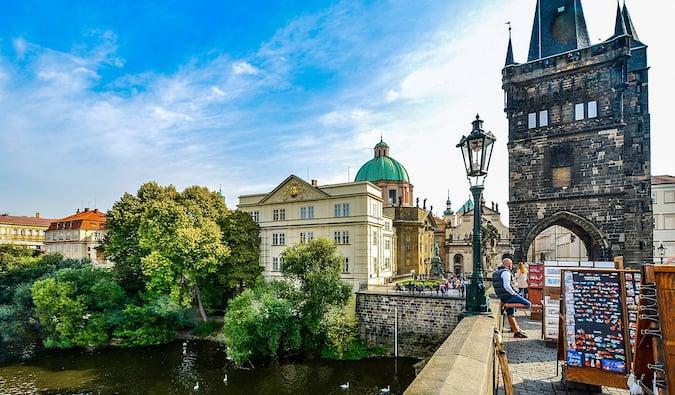 a sunny scene on the Charles Bridge in Prague
