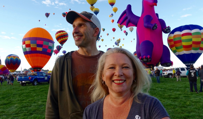 marc and julie from RV Love looking at balloons