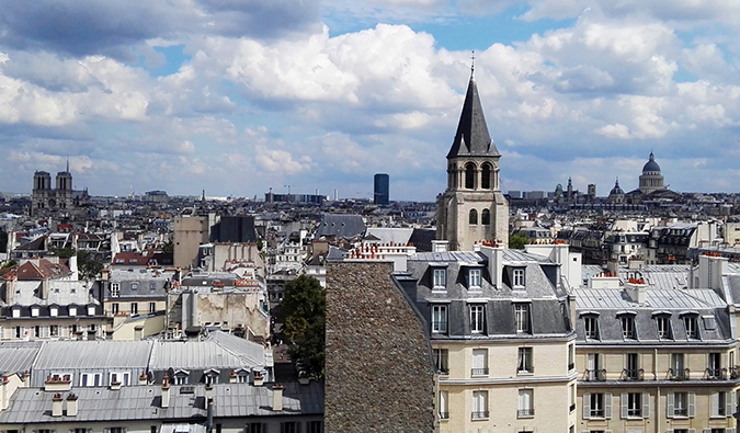 Looking out over the buildings in the Saint-Germain-des-Prés neighborhood in Paris, France