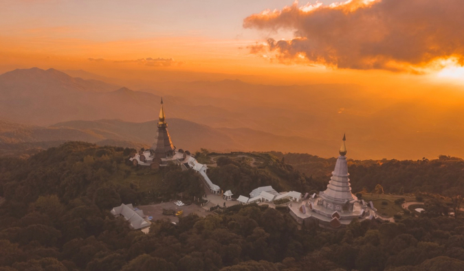 A Buddhist temple in Chiang Mai at sunset