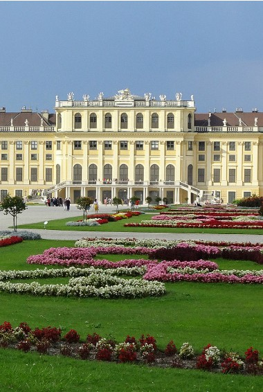 View of Schonbrunn Palace in Vienna taken from the gardens