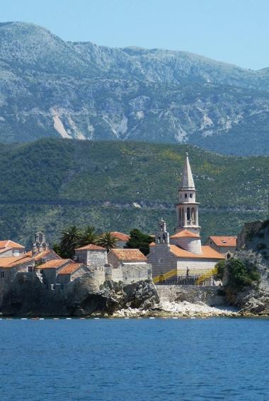 A church close to the water in Budva, Montenegro