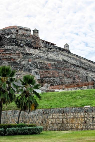 Castillo San Felipe de Barajas in Cartagena taken from bellow the castle