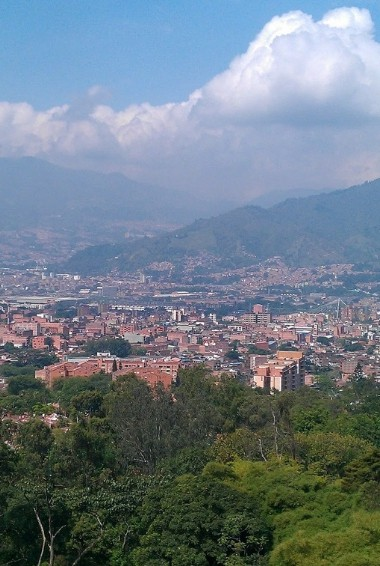 View over Medellín from taken from the barrios up in the hills