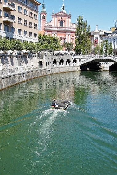 The river in the city of Ljubljana