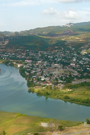 An areal view of the town of Mtskheta in Georgia.