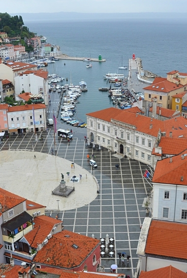 The city of Piran in Slovenia taken from above