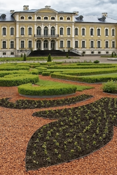 Rundale Palace and gardens in Latvia.