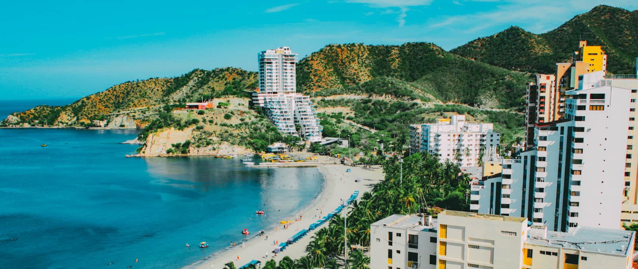A areal view of the beach front in Santa Marta Colombia