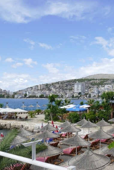 A view over the bay in Saranda looking down over the coastline.