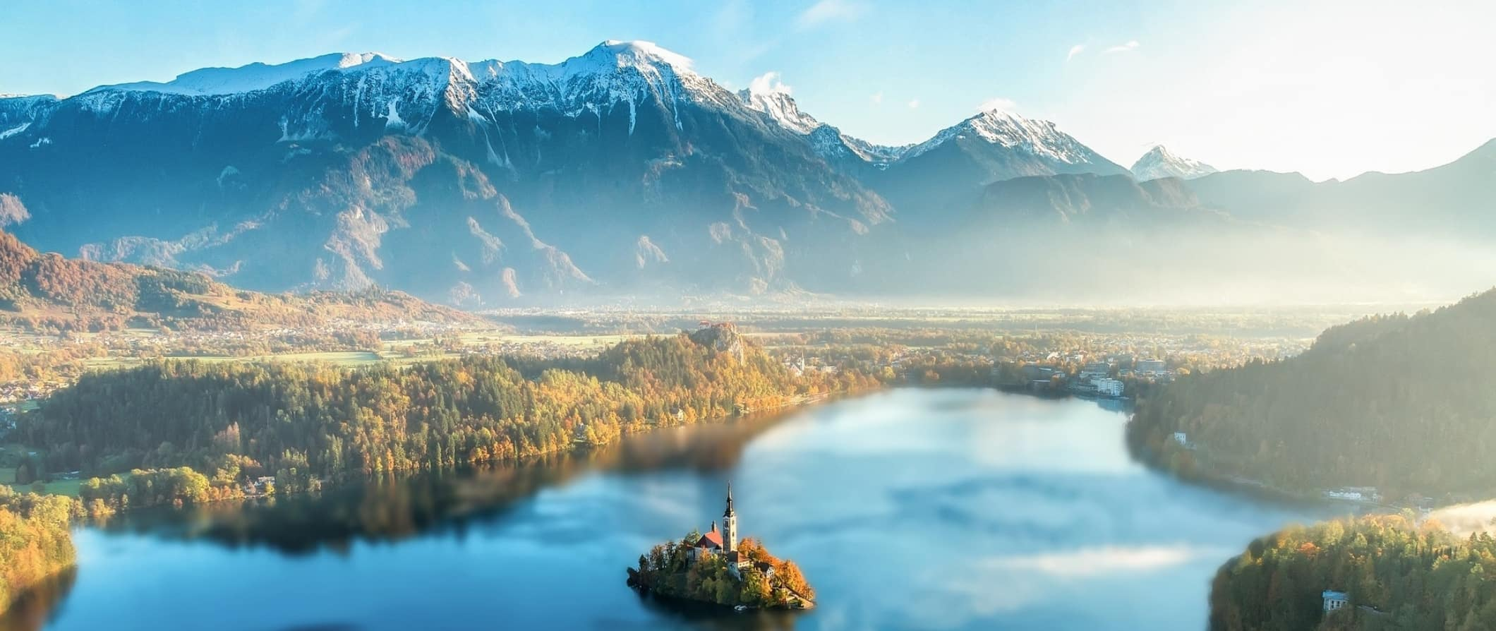 The mountains and lake surrounding Bled Island in Slovenia