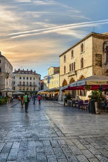 A street view in the city of Split in Croatia