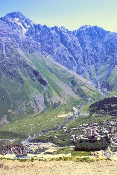 Stepantsminda the view of Mt Kazbek in Georgia