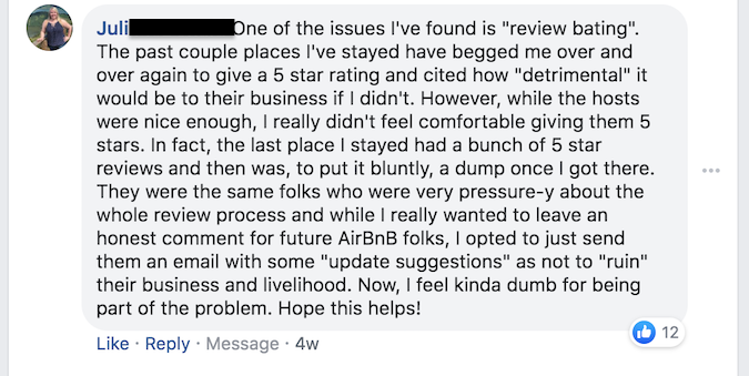 Airbnb poor customer review
