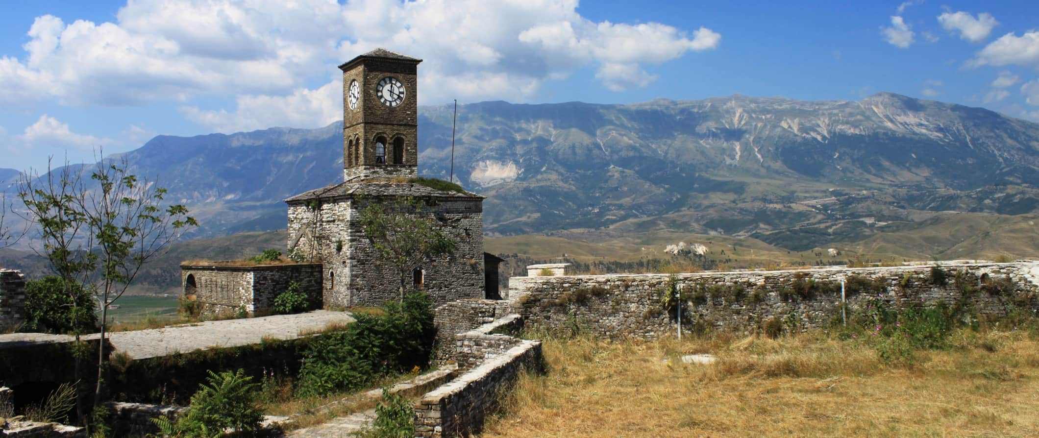 An old stone tower and stone wall in Albania