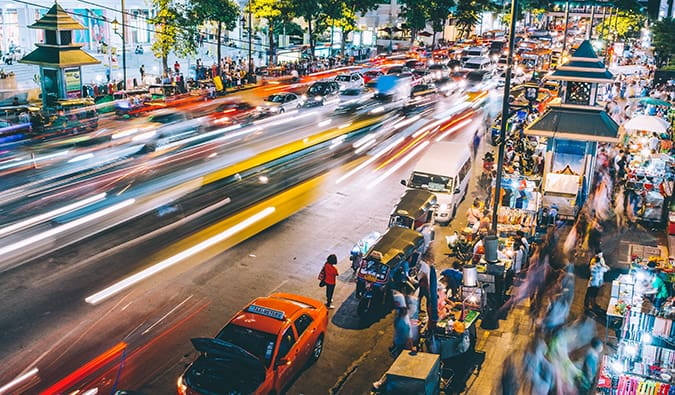 Blurred photography of a busy street at night in Bangkok