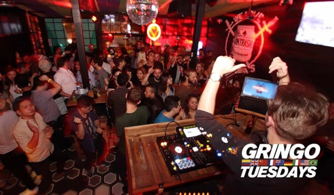 People partying with a DJ at Gringo Tuesdays in Bogota, Colombia