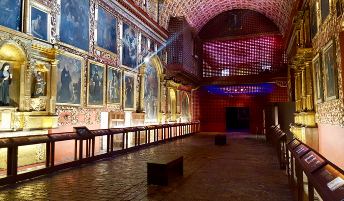 The stunning interior of the Santa Clara Museum in Bogota, Colombia