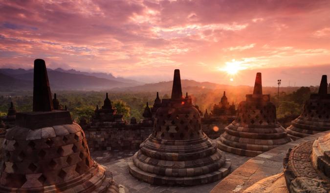 a stunning photo of Borobudur at sunrise