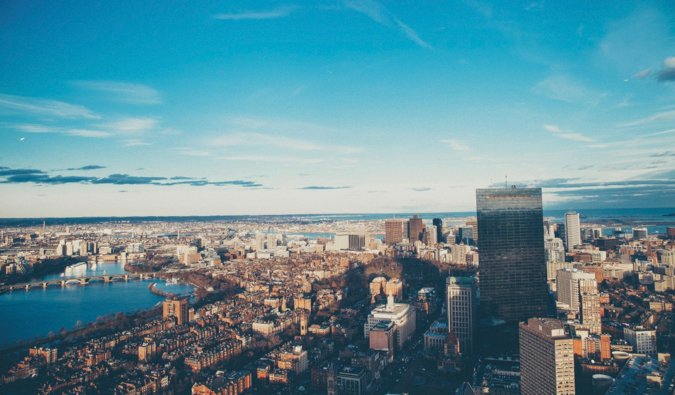 the downtown skyline of Boston, Massachusetts
