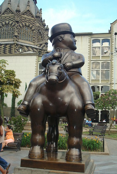 the Man on Horse sculpture by Botero in Medellín