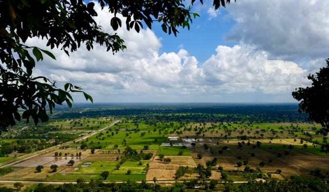 The green farmlands surrounding Battambang in Cambodia
