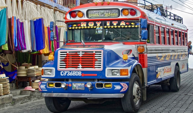 One of the many colorful local chicken buses in Guatemala, Central America