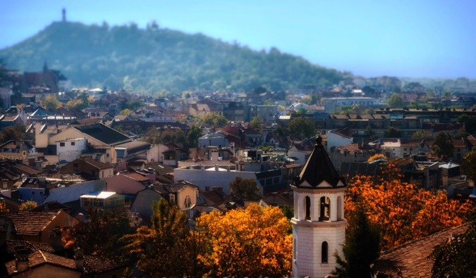 The colorful town of Plovdiv in Bulgaria, surrounded by hills
