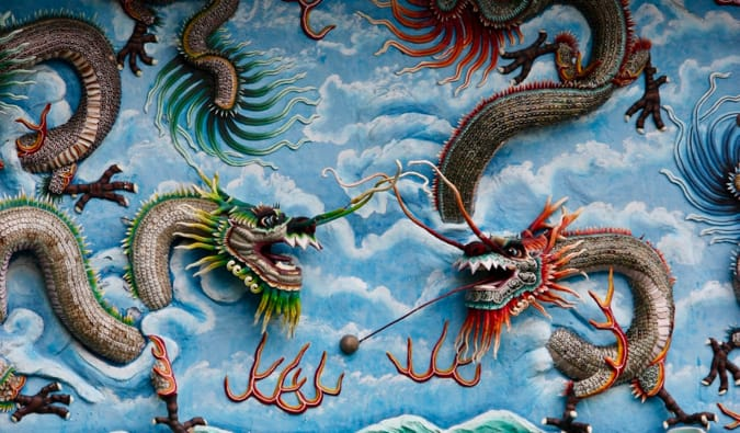 Dragon artwork at Haw Par Villa in Singapore
