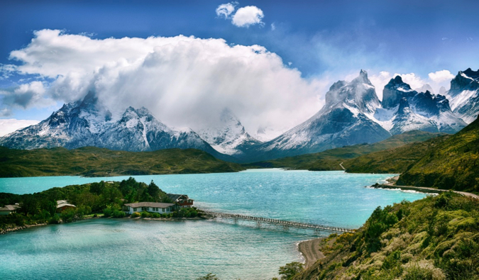 A stunning photo of the mountains of Torres del Paine, Chile in the summer