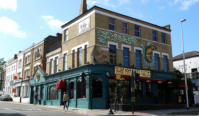 shopfronts in Clapham, London; photo by Ewan Munro (flickr:@55935853@N00)