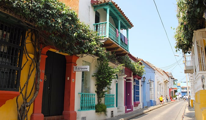 a view of colorful doors and roofs in Cartagena, Colombia