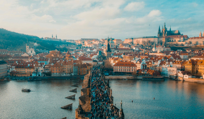 A bridge full of tourists in Prague