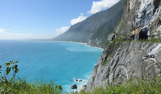 some of Taiwan's beautiful eastern coastline with tall cliffs
