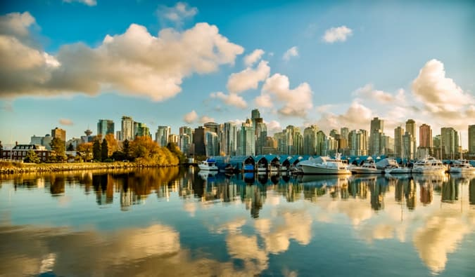 The stunning skyline of Vancouver, Canada and its reflection in the water