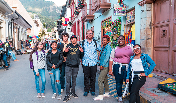 the FLYTE students on a walking tour in Colombia