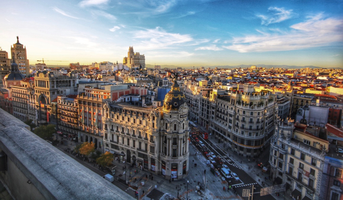 The historic skyline of Madrid, Spain on a beautiful sunny day