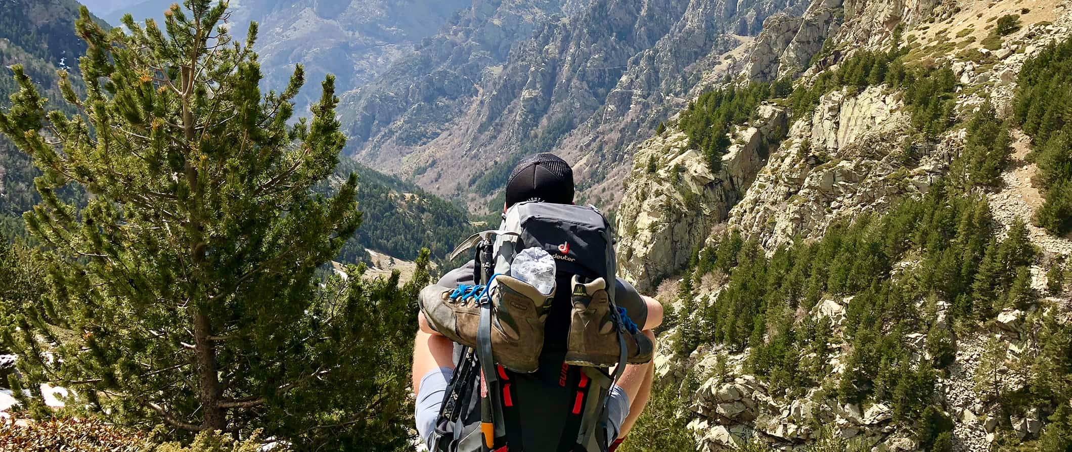 a man wearing hiking gear