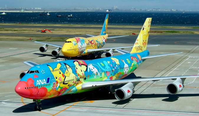 Colorful commercial airplanes in Japan painted with Pokemon pictures