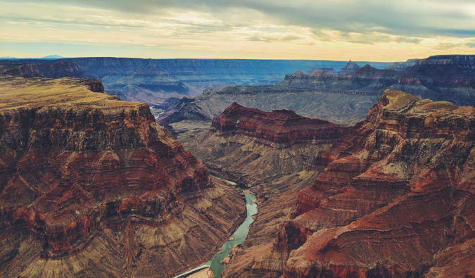 The massive Grand Canyon just outside Las Vegas, Nevada at sunset