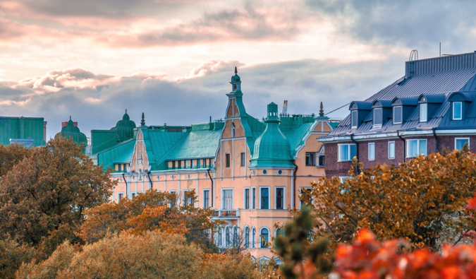 The traditional architecture of Helsinki, Finland in the fall, surrounded by autumn colors
